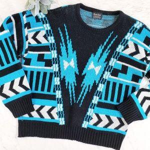 Vintage Mens New Era Geometric Chevron Mod Sweater